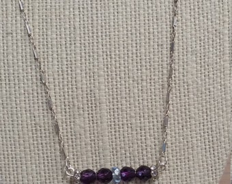 Amethyst Necklace w. Sterling Silver chain.