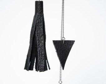 minimalist black leather triangles and tassel earrings