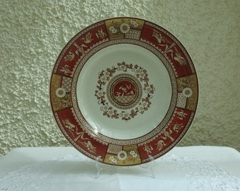 Antique Red and Gold Staffordshire Plate by Bates, Gildea & Walker