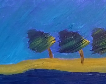 Original Textured Oil Painting Windy Day