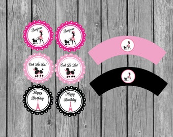 Paris Birthday Party Cupcakes Toppers and Wrappers-Instant Download