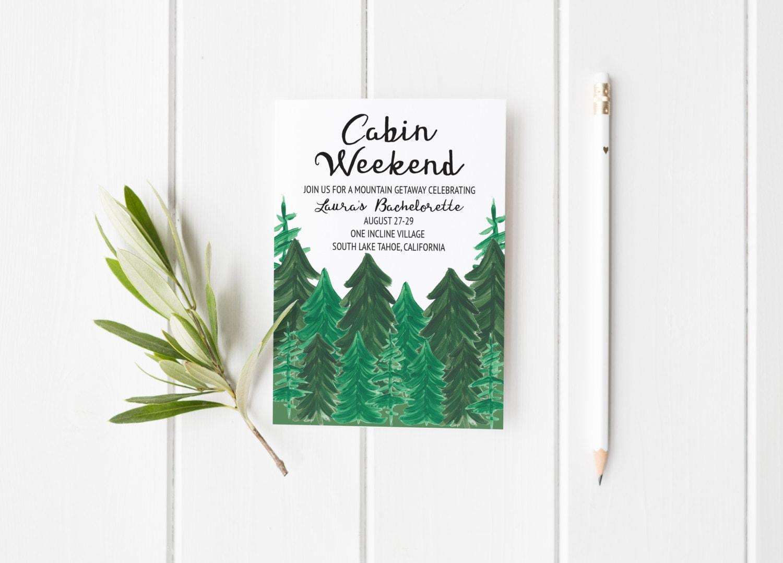 Cabin weekend invitation bachelorette party printable cabin for Cabin bachelor party