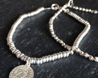 "Charm bracelet 925 Silver Nuggets ""Dime"" with Washers"
