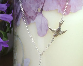 Swallow Bird Necklace with Leaf, sterling silver