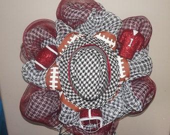 Alabama wreath, bama wreath, deco mesh wreath, houndstooth wreath, roll tide wreath