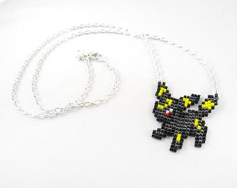 Umbreon Necklace - Pixel Necklace Pokemon Necklace Pixel Jewelry 8 bit Necklace Seed Bead Neklace Video Game Necklace Eeveelution Necklace