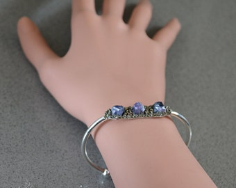 September birthstone jewelry Raw Sapphire bracelet Raw crystal bracelet Sapphire cuff bracelet Boho jewelry for women Birthday gift for her