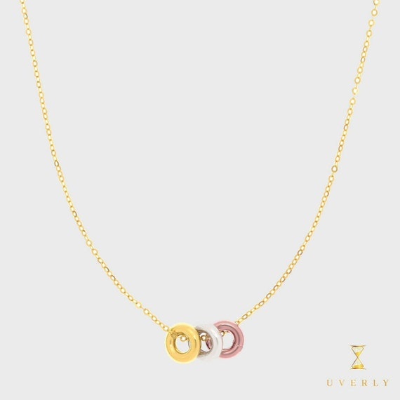 14k Solid Yellow White Rose Gold Love Collection Tri-Color Circles Charm Necklace