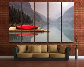 Large Wall Mountain&Lake  Color Canoe Multipanel Canvas Landscape Canvas Art Large Lake 1-2-3-4-5 Panel Red Canoe Paint Lake and Bridge