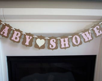 Blush & Cream BABY SHOWER banner for Baby Showers, Maternity Photoshoot Prop   Kraft, Blush Pale Pink, Cream