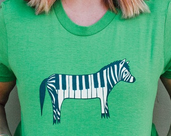Music Gift - Piano Zebra Shirt - Music Gifts, Unique Shirt, Music Tshirt Music Shirt Green Shirt, Piano Shirt