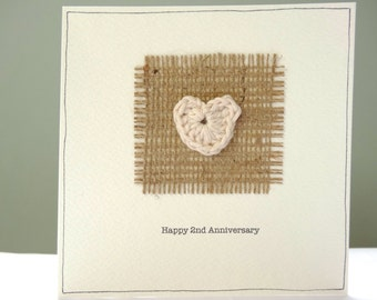 2nd wedding anniversary card - rustic hessian anniversary personalised greeting card - cotton wedding second anniversary - husband wife - UK