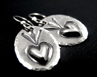 Sacred Heart Dangle Earrings Sterling Silver - Stamped Repoussé - Native American Navajo tribal earrings - Southwestern Earrings