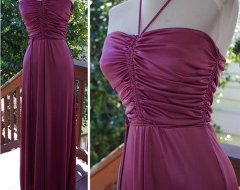 ORCHID 1970's Vintage Long Shimmery Purple Maxi Gown // Halter Dress // by INFINITY // size XS Small