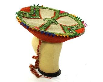 Traditional Peruvian Hat / Vintage 1930s Quechua Montera / Ethnic Folk Andean Inca Ladies Hat / Native South American / Carmen Miranda Hat