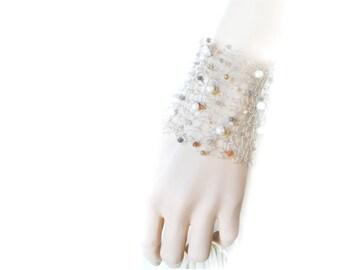 Wide Silver Cuff, Knitted Wire Bracelet, Wire Crochet, Silver Bracelet, Moonstones, Fresh Water Pearls, Fine Silver, by Durango Rose