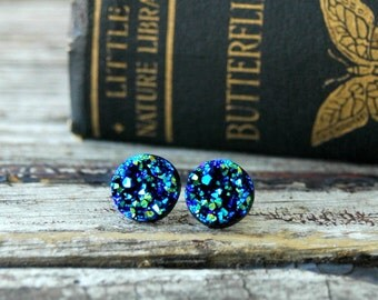 Blue Druzy Earrings . Druzy Stud Earrings . Faux Druzy Studs . Girlfriend Gift Best Friend Gift . Surgical Steel Studs . Druzy Jewelry