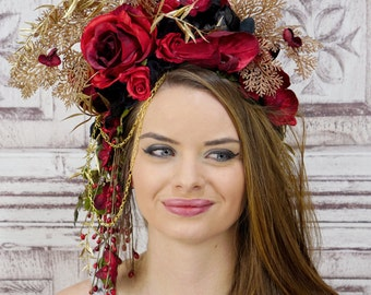 Black and Red Flower Headdress, Flower Crown, Red Rose Headpiece, Red, Gold, Black, Woodland Fairy Headpiece