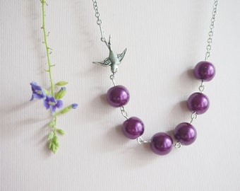 Swallow Necklace Soar Necklace Bird Necklace Plum Necklace Purple Necklace Bridesmaid Jewelry Bridesmaid Gift Wedding Jewelry Gift For Her