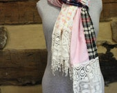 Plaid Scarf Boho Patchwork Flannel Scarf Shabby Chic Hippie Clothes Tattered Neck Wrap Scarves Tartan and Floral
