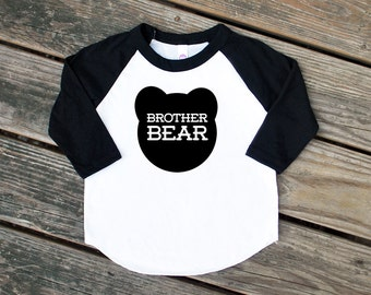 Size 2 Brother Bear Black Raglan Sleeve Baseball TShirt with Black Print -  Expecting, Announcement, Sibling, New Baby, Big Little