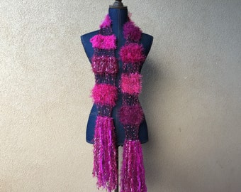 Hot Pink Scarf - See Through Lightweight, Dark Magenta Fuschia, Hand Knit with Sparkle Fringe