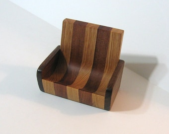 Cell Phone Rest / Desk organizer For Home Or Office Made Of Three Woods