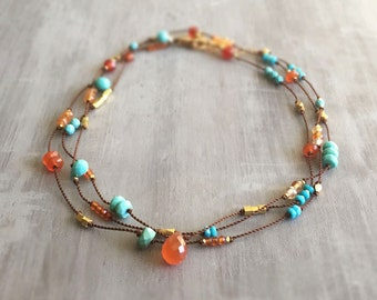 Drift Necklace - Hand Knotted with Turquoise Gold and Carnelian