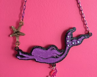 GLITTER MERMAID laser cut acrylic necklace