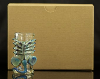 Facehugger Shot Glass Hand Blown in Clear & Silver Amethyst, Ready to Ship #214