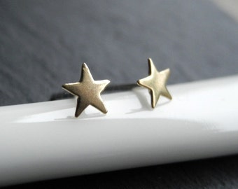 Star Earrings, Teeny Tiny Star Studs, Star Jewelry, Gift for Her, Black Friday Sale, Night Sky, Brass and Sterling Silver Studs (E207)