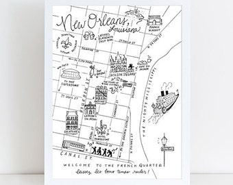 French Quarter, New Orleans, Louisiana Pen and Ink Map Art Print