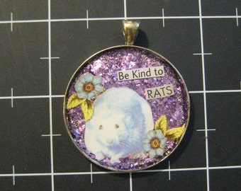 """Hooded Rat Pendant, """"Be Kind to Rats"""", 50% goes to the current focus charity"""