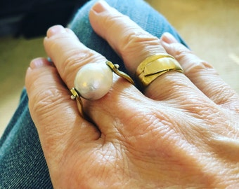 Wide Organic Hand Sculpted Band Ring