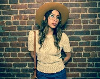 Vintage 70s Cream Crochet Boho Sweater