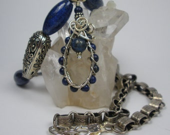 Lapis Lazuli Wire Wrapped Pendant  Necklace with Chain and  Earrings