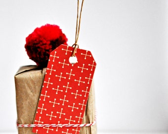 Festive Red Star Tags {10} Large Gift Labels | Modern Christmas Holiday Tags | Scrapbooking | DIY Supplies