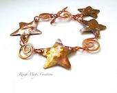 Rustic Copper Starfish, Boho Beach Bracelet, Chain and Link Bracelet, Eco Friendly Metalwork Jewelry