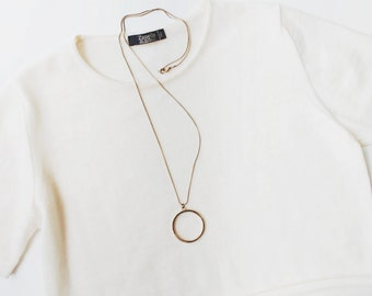 1970's Minimal Ring Pendant with Extra Long Necklace