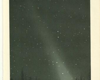 1860s Night Sky Lithograph Zodiakallicht Chromolithograph Print Vibrant Color