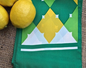"""Vintage scarf, Lucky green, yellow and white vintage """"argyle"""" scarf,  vintage scarf, ladies accessories, long rectangle scarf, plaid scarf"""