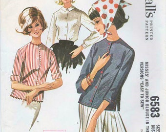 1960s McCall's 6583 Vintage Sewing Pattern Junior and Misses Blouses Size 9 Bust 30-1/2, Size 12 Bust 32
