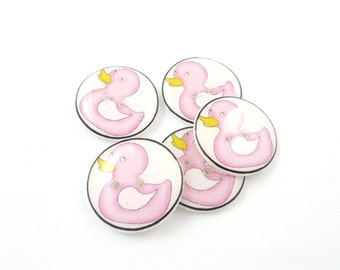 "5 Bright Pink Rubber Duck Buttons. Handmade buttons.  Sewing buttons. 3/4"" or 20 mm."