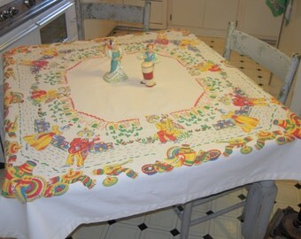 Mexican Themed Tablecloth Colorful Serenades