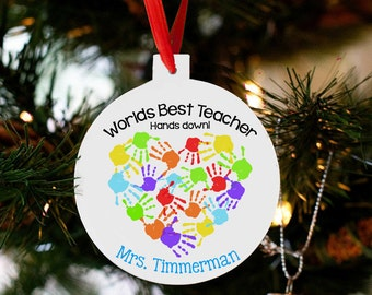 Personalized teacher ornament Christmas gift worlds best teacher ornament THDCO