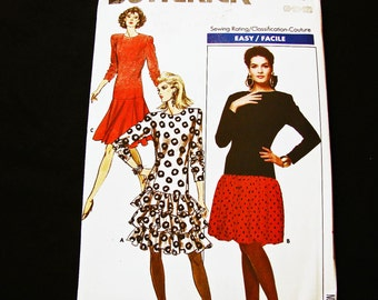 1980s Bubble Skirt Dress Pattern UNCUT Misses size  8 10 12 Womens Drop Waist Dress, Ruffle Skirt, Flare Skirt, Bubble Skirt Sewing Pattern