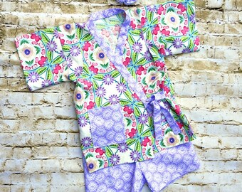 Little Girls Short Set - Kids Japanese Kimono - Toddler Girl Clothes - Purple - Birthday Outfit - Hospital - Boutique - sizes 2T to 10 years