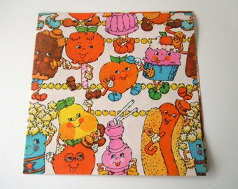 Vintage All Occasions Children's Wrapping Paper | Colorful Gift Wrap | Anthropomorphic Food Kawaii Cupcakes Candy Fruit
