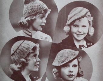 Vintage 1930s Knitting Crochet Pattern Girls Hats Children's Berets Russian Hat Four Designs Ladyship Leaflet No 262 UK 30s original pattern