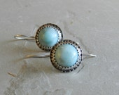 Bezel Set Genuine Larimar Gemstone and Sterling Earrings--Tribal--Modern